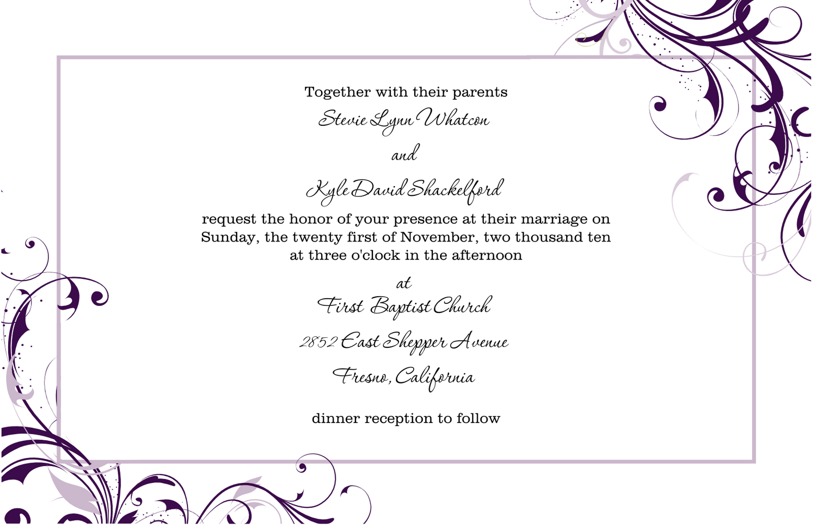 Wedding invitation suite for roberta