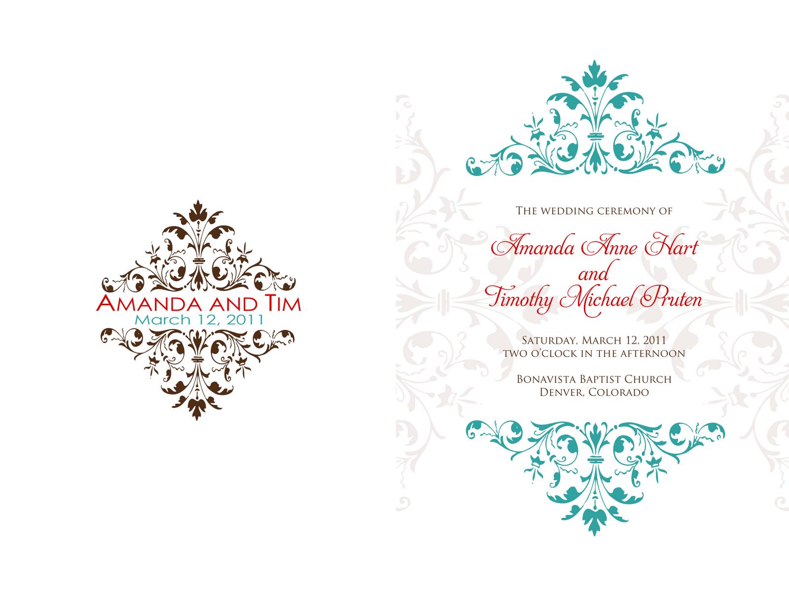Signatures By Sarah Wedding Programs For Amanda