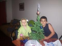 Matías y Agustina armando el árbol de Navidad