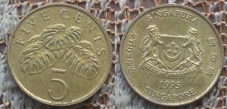 singapore 5 cents 1995