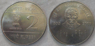 2 rupee louis braille