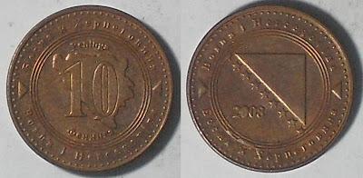 bosnia herzegovina 10 feninga 2008