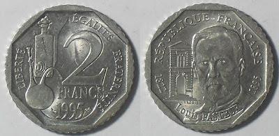 france 2 franc louis pasteur 1895-1995