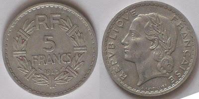 france 5 franc 1945