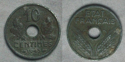 france 10 centimes 1943
