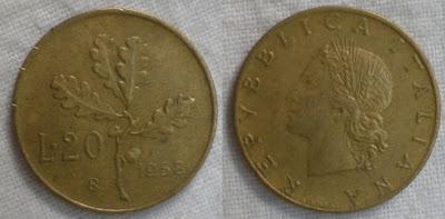 italy 20 lira 1958