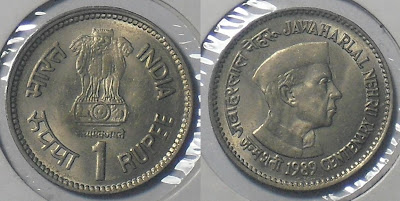 1 rupee jawaharlal nehru with cap 1989