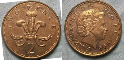england 2 pence 1999