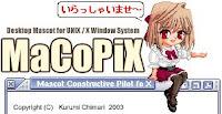 Macopix, la simpatica mascotte giapponese seduta in attesa sul bordo superiore della finestra