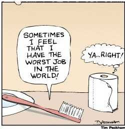 The worst job in the world tooth brush toilet paper