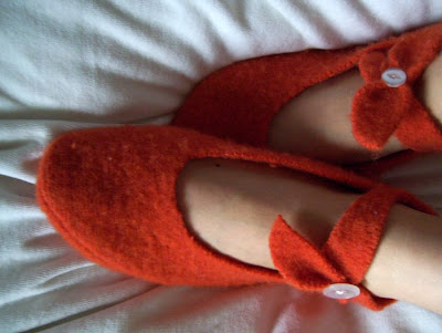orange felted sweater slippers