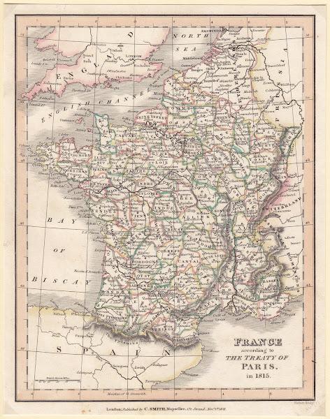Mapa de los Departamentos de Francia en 1815