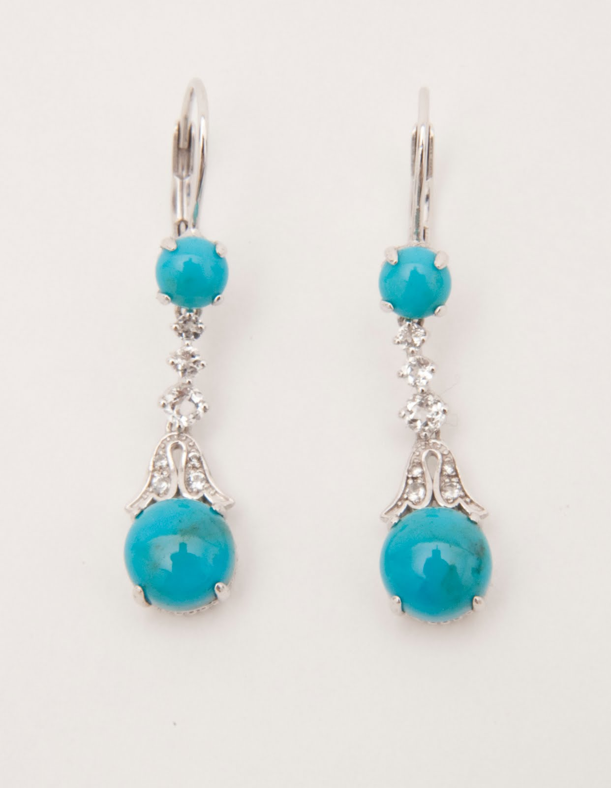 Sterling Sliver, Turquoise And White Topaz Lever Back Earrings, Inspired By  The Smithsonian's Empress Marie Louise Diadem