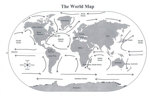 Abbys aquarium adventures january 2011 yes youve seen this map on my blog before but this time i want you to find where the different oceans are so that you can see where the giant squid has sciox Image collections