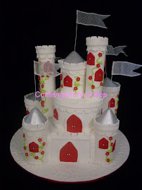 Castle Cake with a red ,white and silver theme
