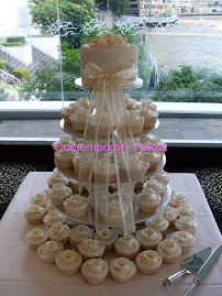 Vanilla and white chocolate cupcake tower