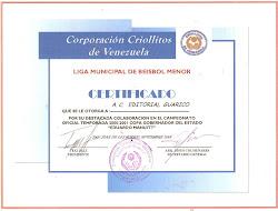 RECONOCIMIENTO POR PARTE DE CRIOLLITOS DE VENEZUELA A LA EDITORIAL GUÁRICO.2001