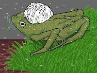 Si-Katak soul-no-deen gembira teramat sangat bila mendapati dia bukanlah dihempap anakbadak garang bergelar Bikmama! (The Frog soul-no-deen is extremely happy upon realising that he has not been squashed underneath an always-grumpy baby hippo called Bikmama!). klakka-la.blogspot