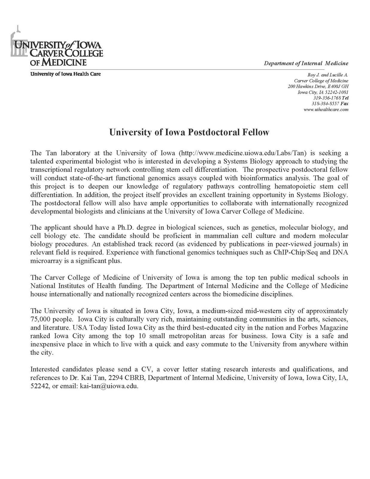 Applying for a Postdoctoral Position: A Stark Presentation