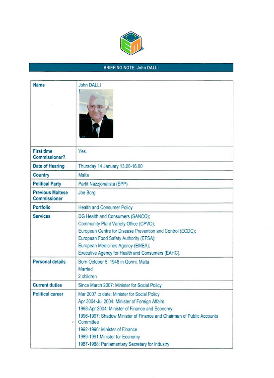 John Dalli Briefing Note (CV) Page1