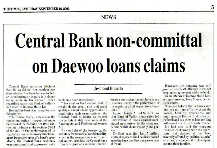 Malta Central Bank Covers Up Daewoo Loans