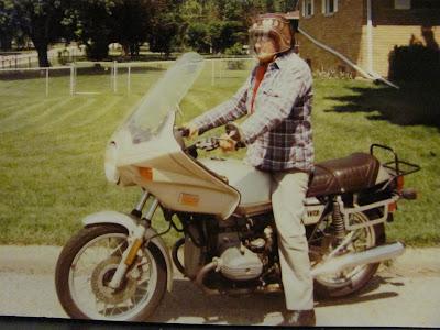Dewey Guile on BMW motorcycle