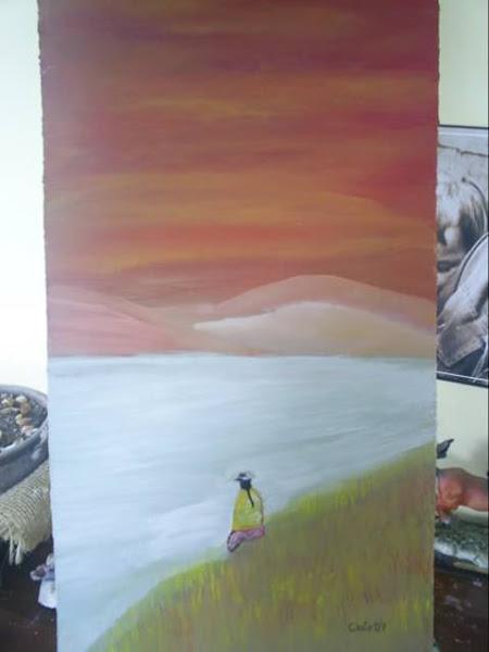 Indigena viendo al horizonte