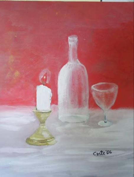 Vela, botella y copa