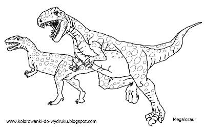 Koloroa Do Wydruku Dinozaur Megalozaur