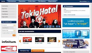 Tokio Hotel en la Página Principal de Ticketmaster Ticketm