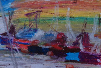 North Dock boats, oil pastel March 07