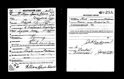 William Spence Davis Sr WWI Draft Registration Card