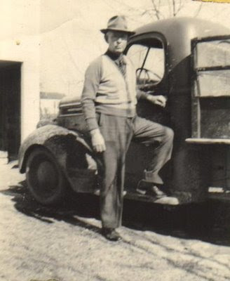 Earl Sanford Richards Beside His Car in Weatherford, Texas