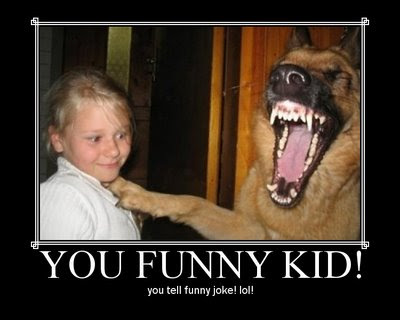 funny kid tells joke to dog