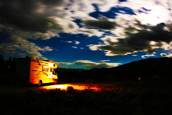 Fast moving clouds over a motorhome while camping in Colorado at Twin Lakes.