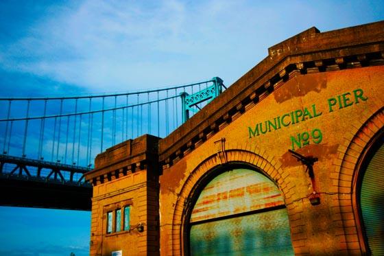 The Municipal Pier in front of the Benjamin Franklin bridge across the Delaware River in Philadelphia.