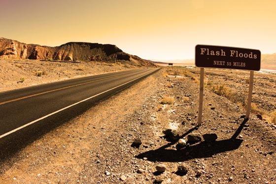 A Flash Floods road sign inside Death Valley National Park.