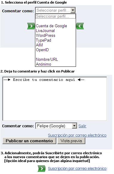 Comentarios en el Blog de la Nacho a través de una cuenta de Google