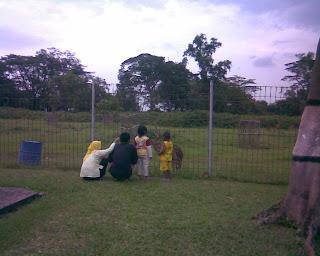 Salah satu orang tua bersama kedua buah hatinya tengah asyik memberi makan rusa.