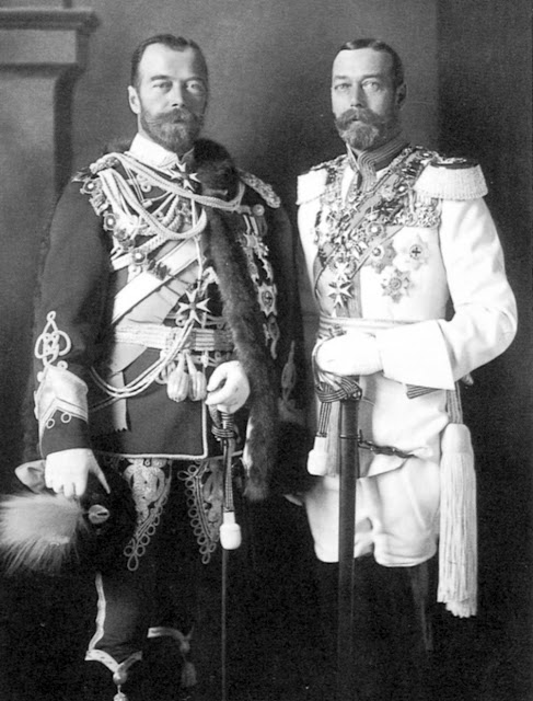 THEN : Tsar Nicholas II, left and King George V, right.