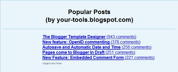 Popular posts (most commented) widget