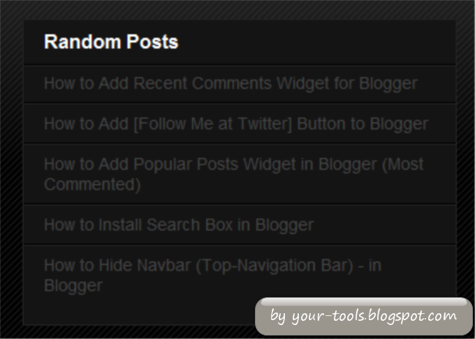 How to Install Random Posts Widget in Blogger