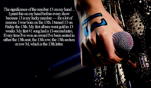 Taylor Swift Source~: Taylor's Lucky Number