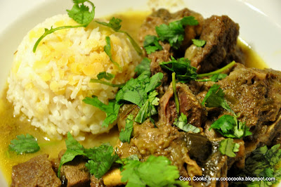 Coconut Curried Goat With Rice and Red Lentils