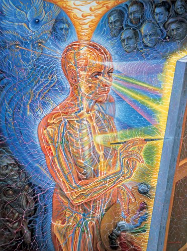 This Piece From Alex Grey Displays A Man Painting Specializes In Spiritual And Visionary Art Particular Deals With The Third Eye Concept