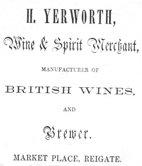 Advertisment, taken from Palgrave's handbook to Reigate, 1860