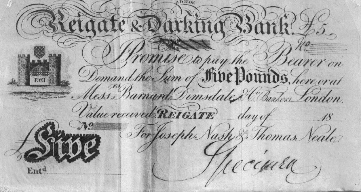 Specimen £5 note issued by Reigate & Darking Bank c1827-1850