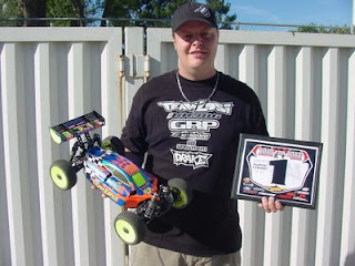 Adam Drake finished in first place in the 1/8 Electric Buggy A-Main