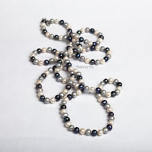 "Black, White & Grey 60"" Necklace"