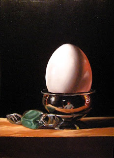 Daily Painting, Oil, Still Life, Egg (Reflected)